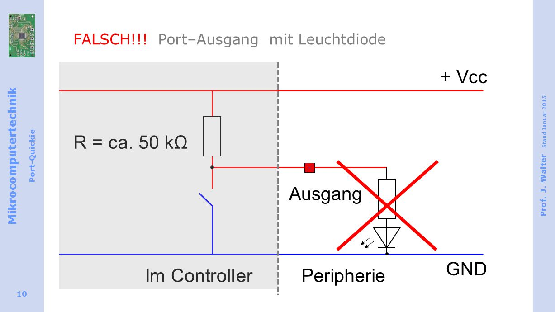 Mikrocomputertechnik Port-Quickie Prof. J. Walter Stand Januar 2015 10 FALSCH!!.