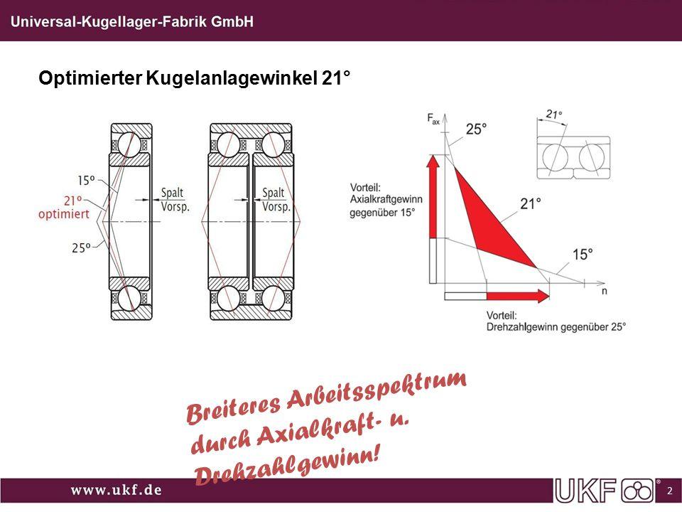 Optimierter Kugelanlagewinkel 21° Breiteres Arbeitsspektrum durch Axialkraft- u. Drehzahlgewinn! 2