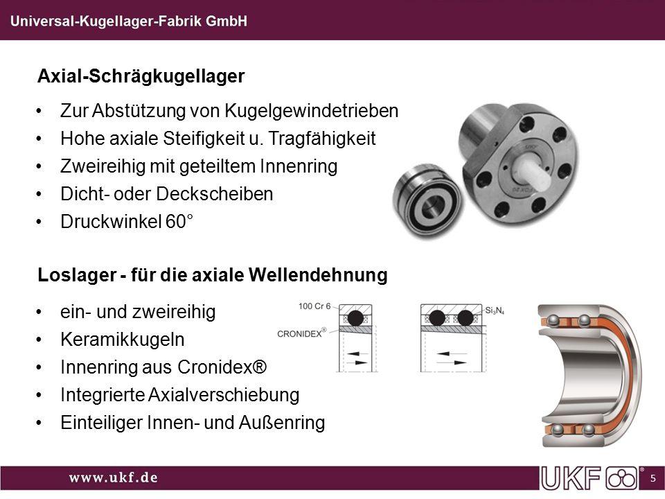 Axial-Schrägkugellager Zur Abstützung von Kugelgewindetrieben Hohe axiale Steifigkeit u. Tragfähigkeit Zweireihig mit geteiltem Innenring Dicht- oder
