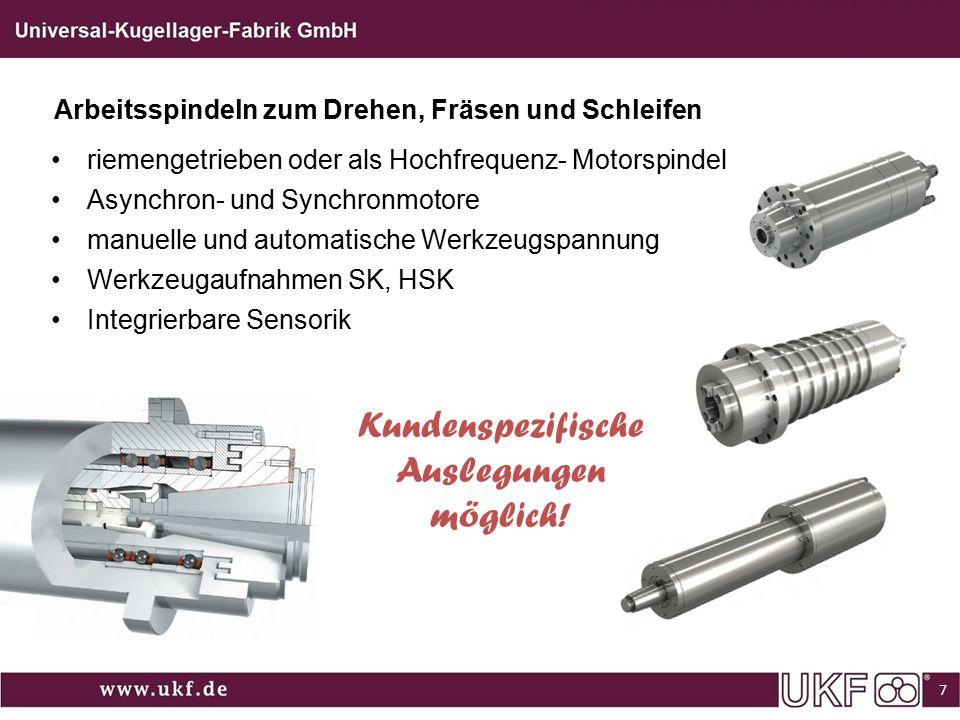 Arbeitsspindeln zum Drehen, Fräsen und Schleifen 7 riemengetrieben oder als Hochfrequenz- Motorspindel Asynchron- und Synchronmotore manuelle und auto