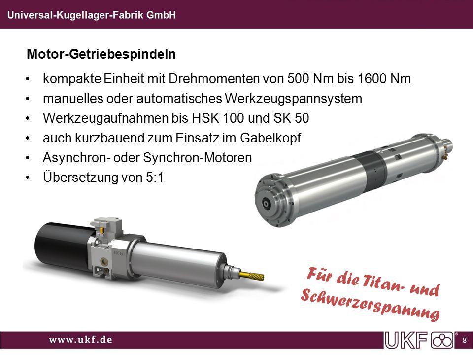 kompakte Einheit mit Drehmomenten von 500 Nm bis 1600 Nm manuelles oder automatisches Werkzeugspannsystem Werkzeugaufnahmen bis HSK 100 und SK 50 auch