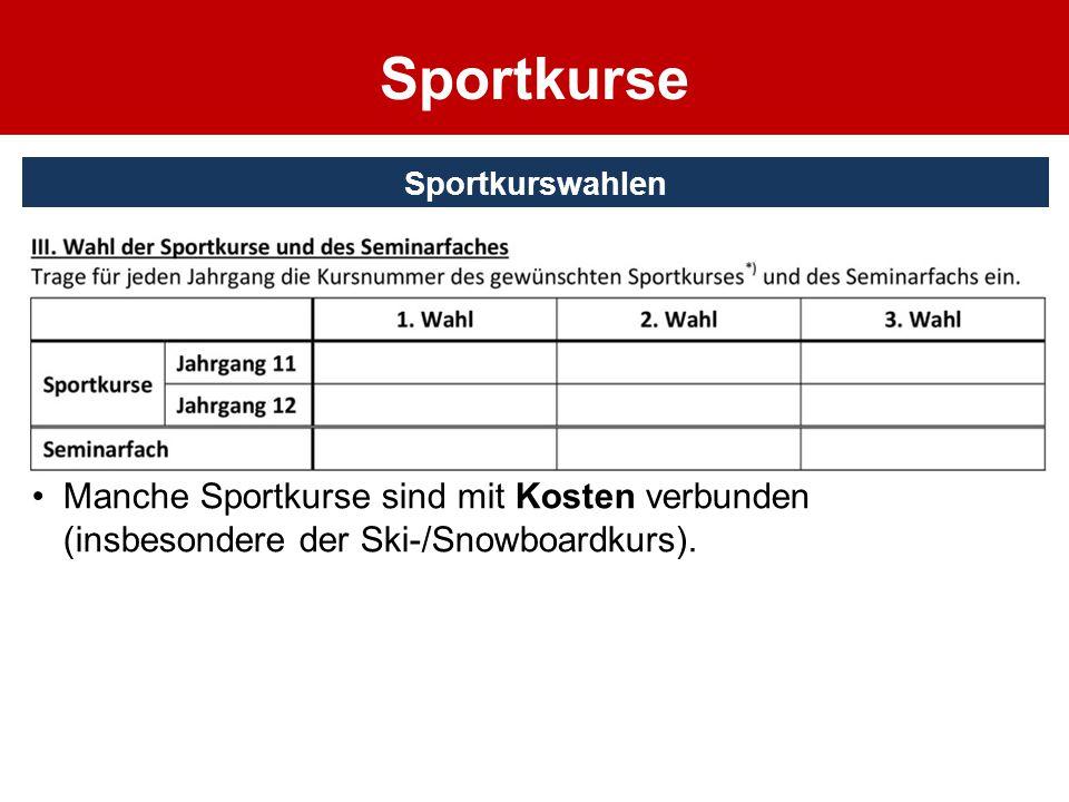 RahmenbedingungenSportkurswahlen Sport muss durchgehend belegt werden. Jeder Sportkurs läuft über ein Schuljahr und beinhaltet zwei unterschiedliche S