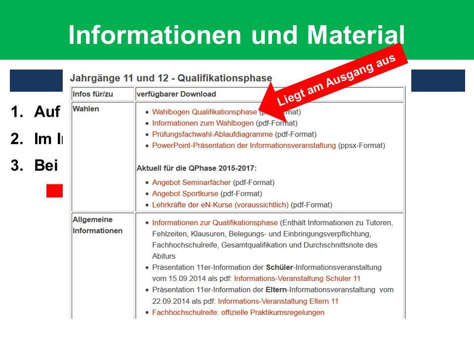 Informationen und Material Wo finde ich wichtige Informationen? 1.Auf der Homepage des Johanneums 2.Im Infokasten der Oberstufe 3.Bei Herrn Fügener Li