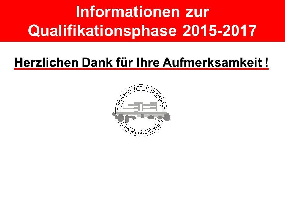 Informationen zur Qualifikationsphase 2015-2017 Herzlichen Dank für Ihre Aufmerksamkeit !