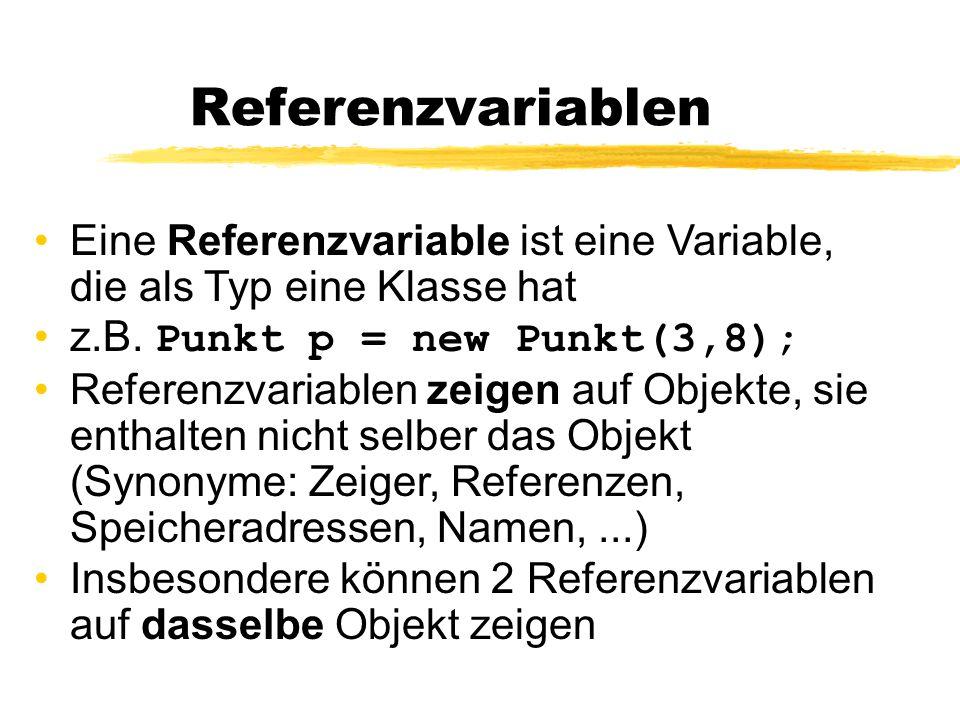Referenzvariablen Eine Referenzvariable ist eine Variable, die als Typ eine Klasse hat z.B. Punkt p = new Punkt(3,8); Referenzvariablen zeigen auf Obj