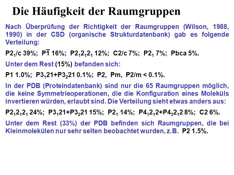 Die Häufigkeit der Raumgruppen Nach Überprüfung der Richtigkeit der Raumgruppen (Wilson, 1988, 1990) in der CSD (organische Strukturdatenbank) gab es