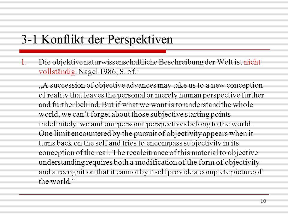 10 3-1 Konflikt der Perspektiven 1.Die objektive naturwissenschaftliche Beschreibung der Welt ist nicht vollständig.