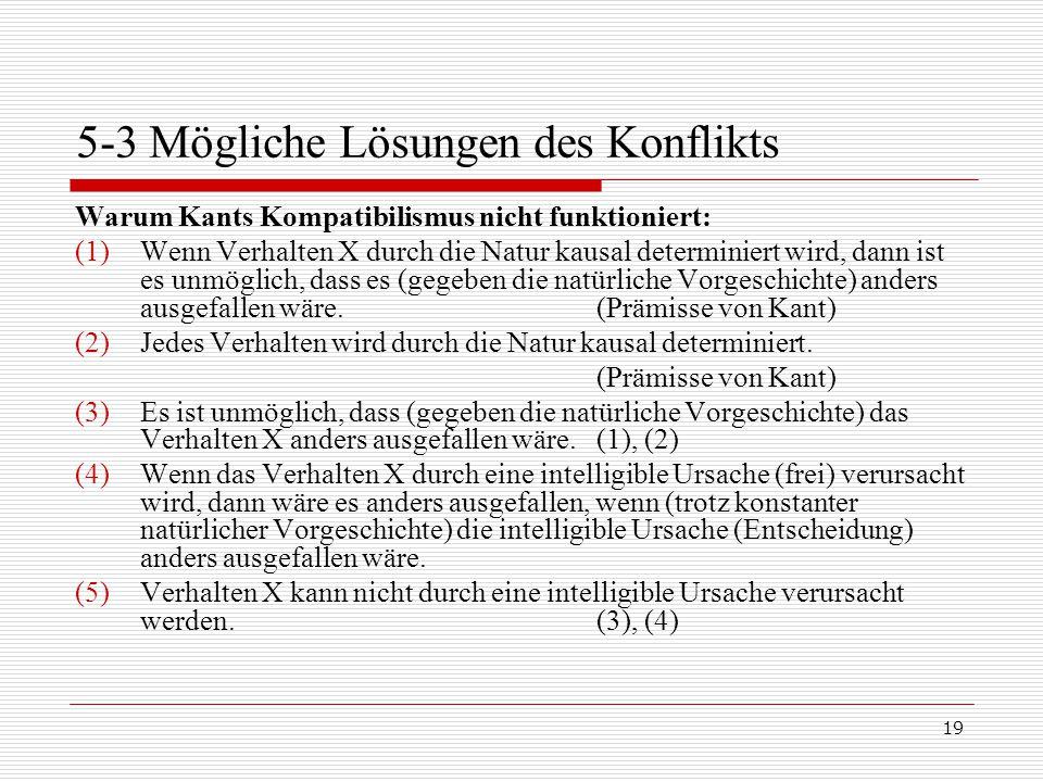 19 5-3 Mögliche Lösungen des Konflikts Warum Kants Kompatibilismus nicht funktioniert: (1)Wenn Verhalten X durch die Natur kausal determiniert wird, dann ist es unmöglich, dass es (gegeben die natürliche Vorgeschichte) anders ausgefallen wäre.