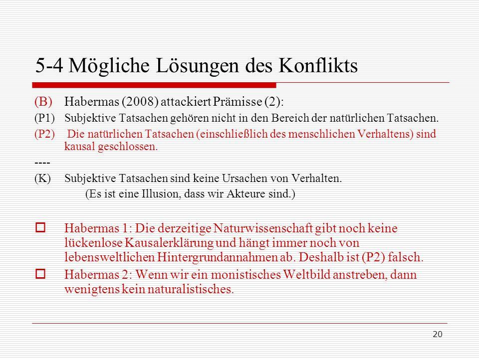 20 5-4 Mögliche Lösungen des Konflikts (B)Habermas (2008) attackiert Prämisse (2): (P1)Subjektive Tatsachen gehören nicht in den Bereich der natürlichen Tatsachen.