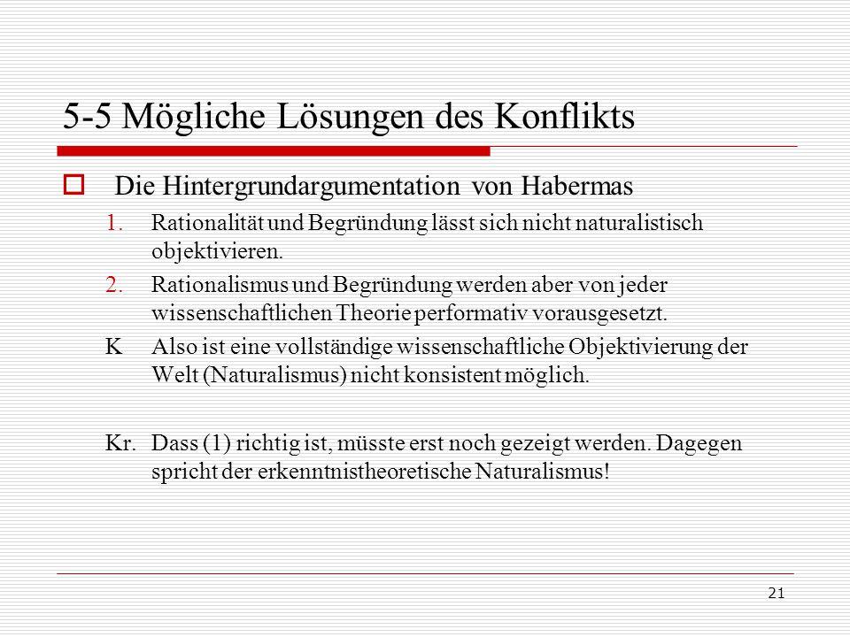 21 5-5 Mögliche Lösungen des Konflikts  Die Hintergrundargumentation von Habermas 1.Rationalität und Begründung lässt sich nicht naturalistisch objektivieren.