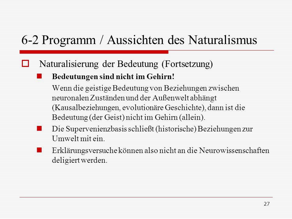 27 6-2 Programm / Aussichten des Naturalismus  Naturalisierung der Bedeutung (Fortsetzung) Bedeutungen sind nicht im Gehirn.