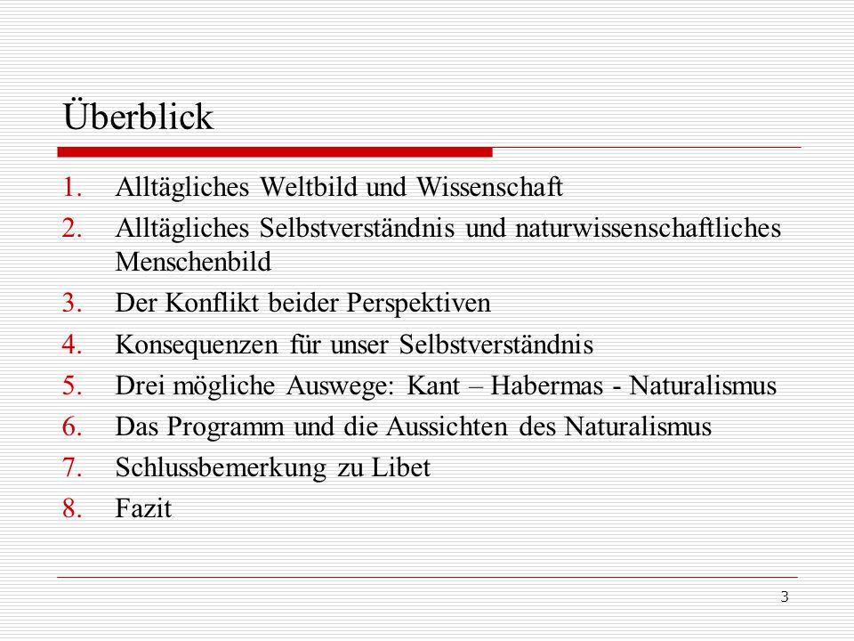 3 Überblick 1.Alltägliches Weltbild und Wissenschaft 2.Alltägliches Selbstverständnis und naturwissenschaftliches Menschenbild 3.Der Konflikt beider Perspektiven 4.Konsequenzen für unser Selbstverständnis 5.Drei mögliche Auswege: Kant – Habermas - Naturalismus 6.Das Programm und die Aussichten des Naturalismus 7.Schlussbemerkung zu Libet 8.Fazit