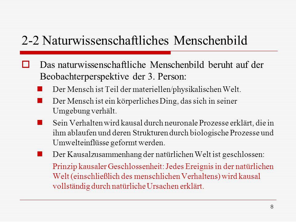 8 2-2 Naturwissenschaftliches Menschenbild  Das naturwissenschaftliche Menschenbild beruht auf der Beobachterperspektive der 3.