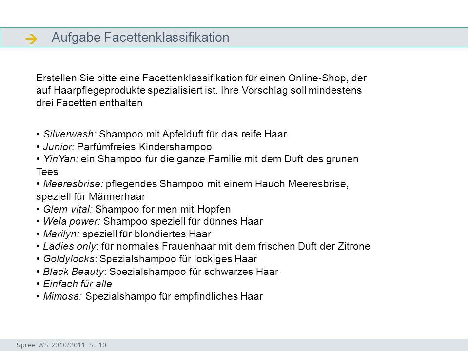 Aufgabe Facettenklassifikation  Aufgabe Seminar I-Prax: Inhaltserschließung visueller Medien, 5.10.2004 Spree WS 2010/2011 S. 10 Erstellen Sie bitte