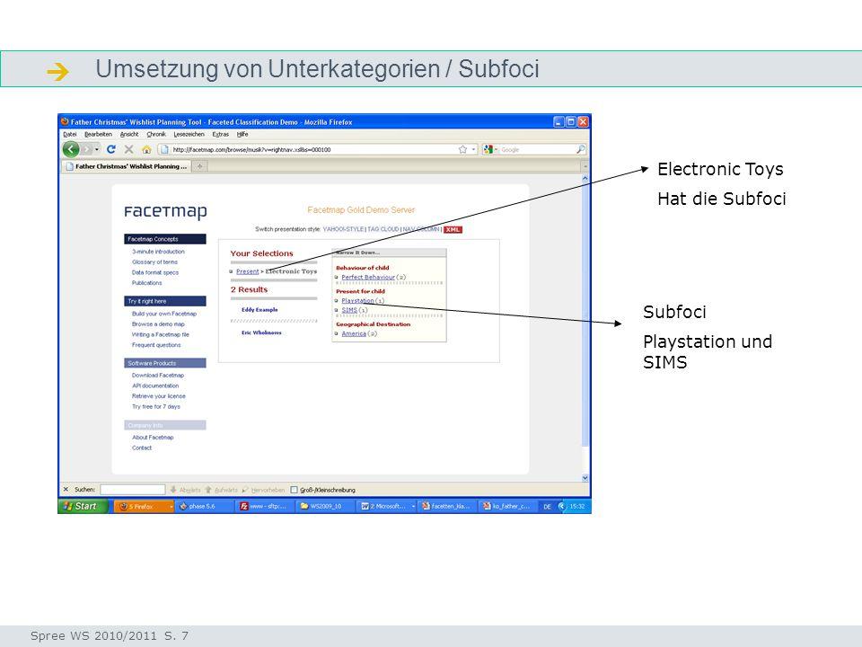 Umsetzung von Unterkategorien / Subfoci  Aufgabe Seminar I-Prax: Inhaltserschließung visueller Medien, 5.10.2004 Spree WS 2010/2011 S. 7 Electronic T