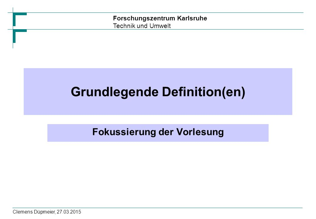 Forschungszentrum Karlsruhe Technik und Umwelt Clemens Düpmeier, 27.03.2015 2-Schichtenverteilung (2-Tier) Typischer Weise Trennung von Präsentation und dem Rest (Business- und Datenlogik) –Client enthält Präsentation mit GUI und behandelt Interaktion mit Nutzer –Server kapselt Business- und Datenlogik Clients sind (weitgehend) unabhängig voneinander –Es kann auch verschiedene Clients für verschiedene (Teil)funktionalitäten geben Ressourcenmanagement sieht nur eine Businesslogik als Client –hier lässt sich der Zugriff daher gut optimieren Erlaubt die Nutzung komplexerer GUI s mit intensiverer CPU- Nutzung, da Clients verteilt sind Definierten Notwendigkeit zur Bereitstellung von universellen Kommunikationsschnittstellen zwischen Client und Server