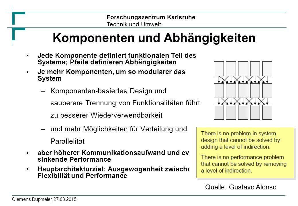 Forschungszentrum Karlsruhe Technik und Umwelt Clemens Düpmeier, 27.03.2015 Komponenten und Abhängigkeiten Jede Komponente definiert funktionalen Teil des Systems; Pfeile definieren Abhängigkeiten Je mehr Komponenten, um so modularer das System –Komponenten-basiertes Design und sauberere Trennung von Funktionalitäten führt zu besserer Wiederverwendbarkeit –und mehr Möglichkeiten für Verteilung und Parallelität aber höherer Kommunikationsaufwand und evtl.