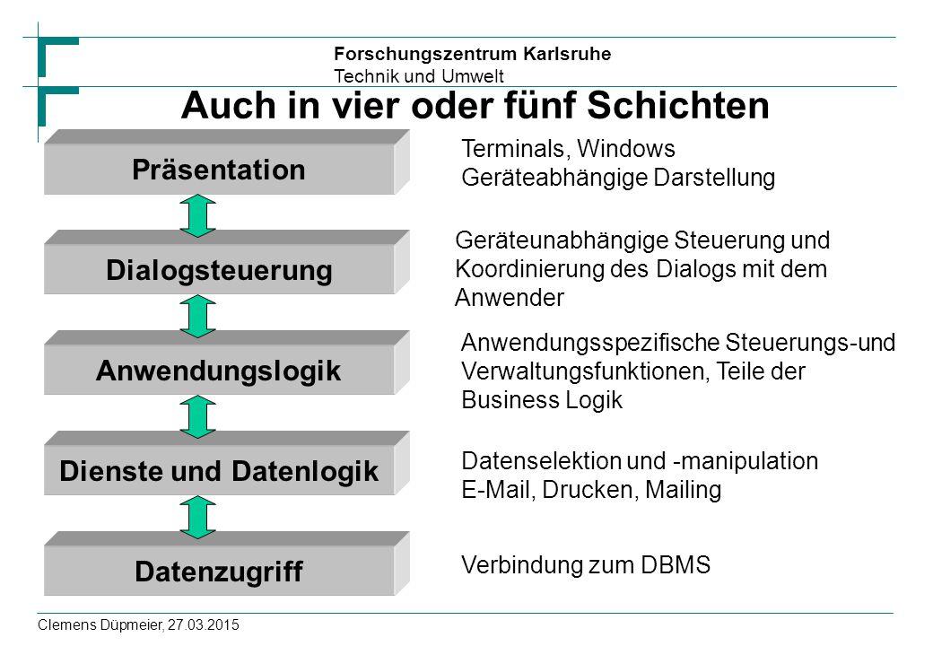 Forschungszentrum Karlsruhe Technik und Umwelt Clemens Düpmeier, 27.03.2015 Auch in vier oder fünf Schichten Terminals, Windows Geräteabhängige Darste