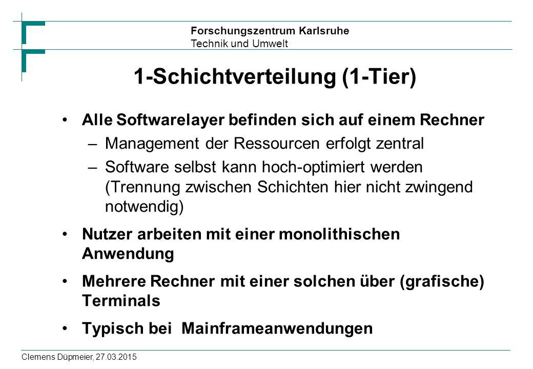 Forschungszentrum Karlsruhe Technik und Umwelt Clemens Düpmeier, 27.03.2015 1-Schichtverteilung (1-Tier) Alle Softwarelayer befinden sich auf einem Re