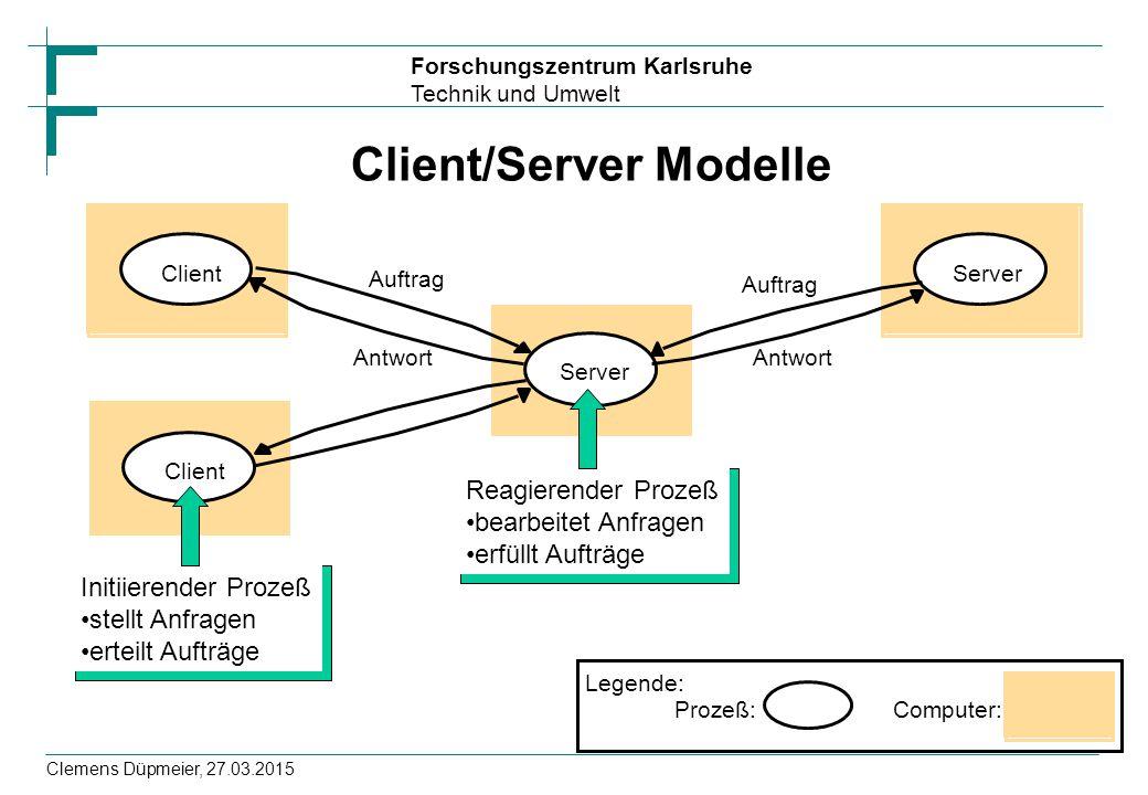 Forschungszentrum Karlsruhe Technik und Umwelt Clemens Düpmeier, 27.03.2015 Client/Server Modelle Prozeß: Legende: Computer: Server Client Auftrag Ant