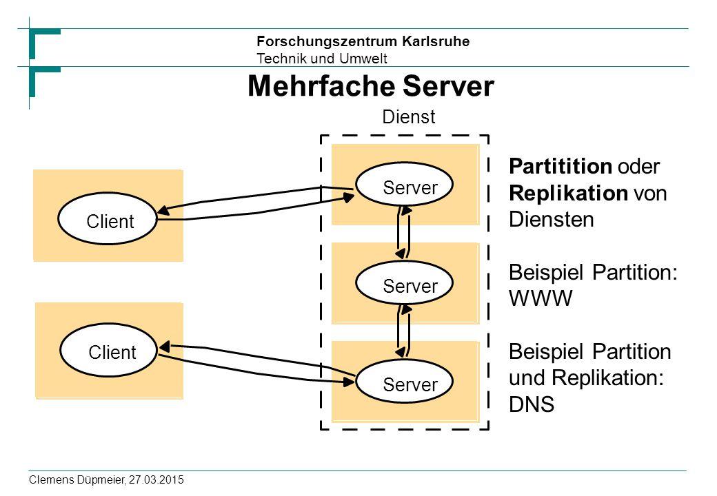 Forschungszentrum Karlsruhe Technik und Umwelt Clemens Düpmeier, 27.03.2015 Mehrfache Server Server Dienst Client Partitition oder Replikation von Diensten Beispiel Partition: WWW Beispiel Partition und Replikation: DNS