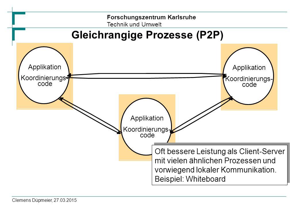 Forschungszentrum Karlsruhe Technik und Umwelt Clemens Düpmeier, 27.03.2015 Koordinierungs- Applikation code Koordinierungs- Applikation code Koordinierungs- Applikation code Gleichrangige Prozesse (P2P) Oft bessere Leistung als Client-Server mit vielen ähnlichen Prozessen und vorwiegend lokaler Kommunikation.