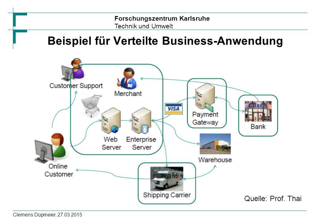 Forschungszentrum Karlsruhe Technik und Umwelt Clemens Düpmeier, 27.03.2015 Beispiel für Verteilte Business-Anwendung Quelle: Prof.