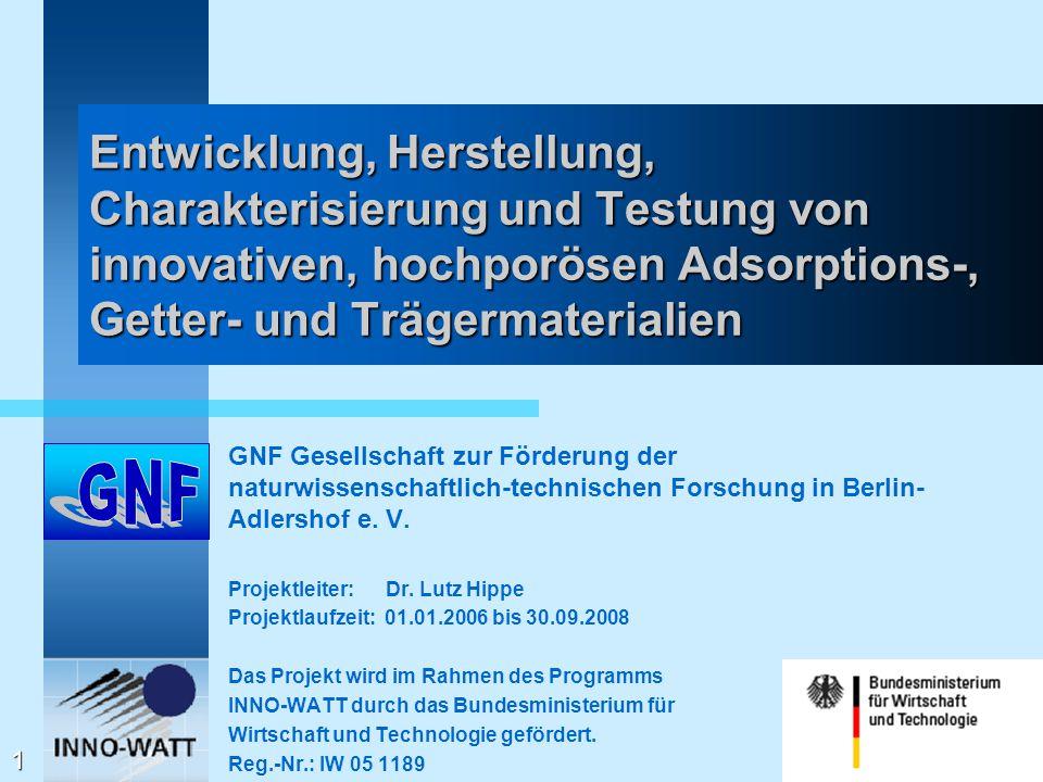 Entwicklung, Herstellung, Charakterisierung und Testung von innovativen, hochporösen Adsorptions-, Getter- und Trägermaterialien GNF Gesellschaft zur