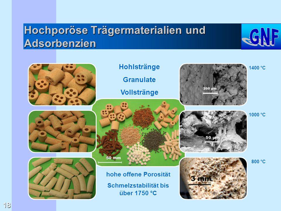 Hochporöse Trägermaterialien und Adsorbenzien hohe offene Porosität Schmelzstabilität bis über 1750 °C Hohlstränge Granulate Vollstränge 1400 °C 1000
