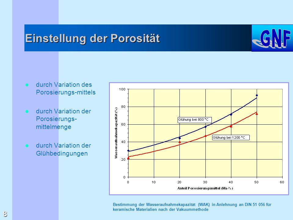 Einstellung der Porosität durch Variation des Porosierungs-mittels durch Variation der Porosierungs- mittelmenge durch Variation der Glühbedingungen B