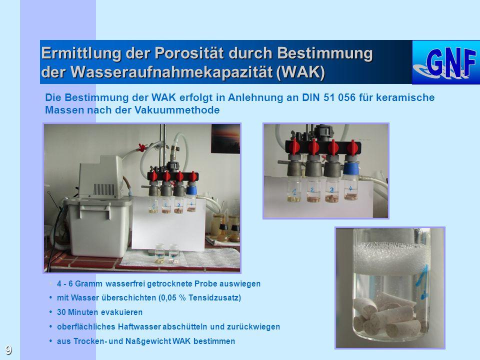 Ermittlung der Porosität durch Bestimmung der Wasseraufnahmekapazität (WAK) Die Bestimmung der WAK erfolgt in Anlehnung an DIN 51 056 für keramische M