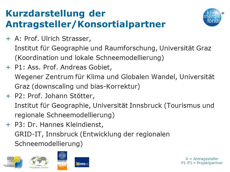 Kurzdarstellung der Antragsteller/Konsortialpartner +A: Prof. Ulrich Strasser, Institut für Geographie und Raumforschung, Universität Graz (Koordinati