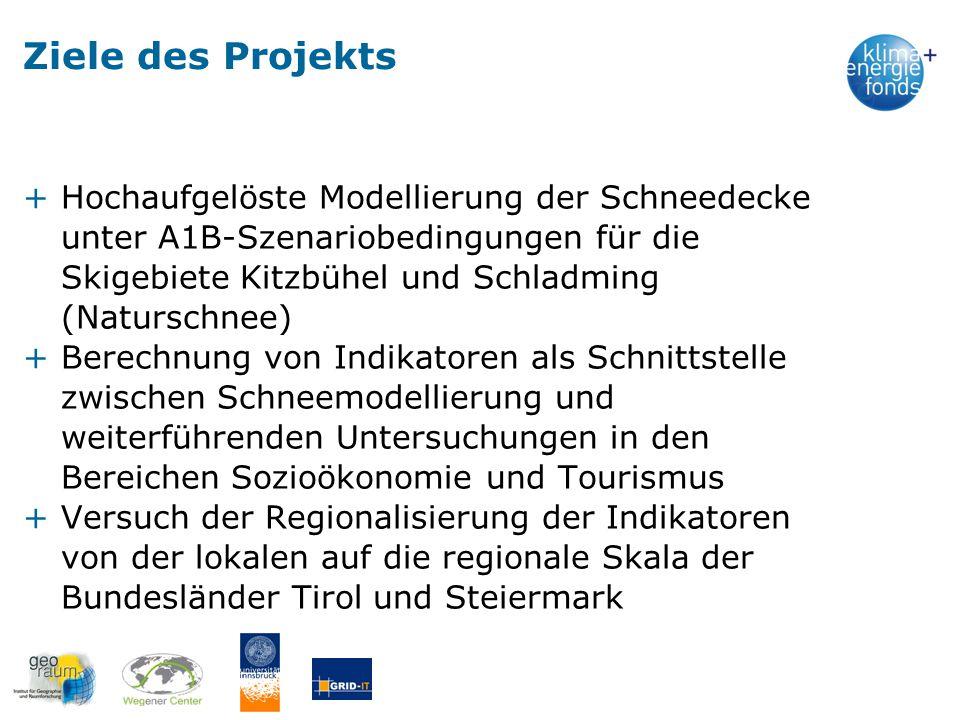 Ziele des Projekts +Hochaufgelöste Modellierung der Schneedecke unter A1B-Szenariobedingungen für die Skigebiete Kitzbühel und Schladming (Naturschnee