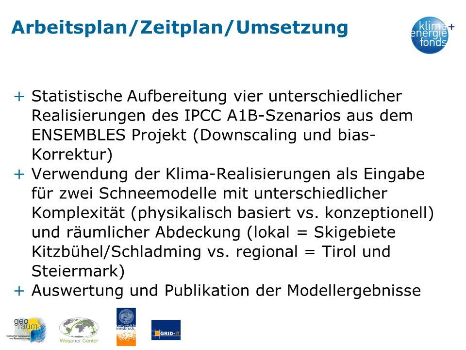 Arbeitsplan/Zeitplan/Umsetzung +Statistische Aufbereitung vier unterschiedlicher Realisierungen des IPCC A1B-Szenarios aus dem ENSEMBLES Projekt (Down