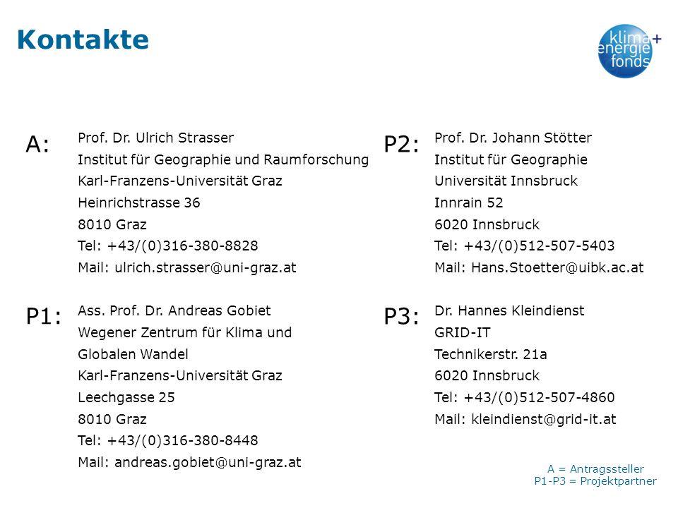 Kontakte Prof. Dr. Ulrich Strasser Institut für Geographie und Raumforschung Karl-Franzens-Universität Graz Heinrichstrasse 36 8010 Graz Tel: +43/(0)3