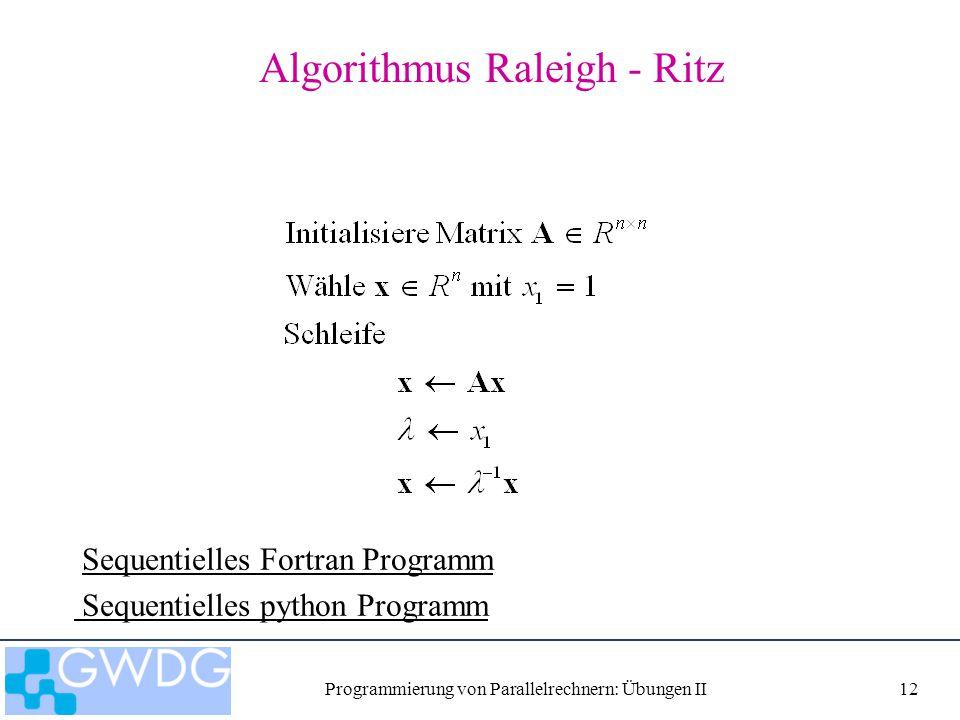 Programmierung von Parallelrechnern: Übungen II12 Algorithmus Raleigh - Ritz Sequentielles Fortran Programm Sequentielles python Programm