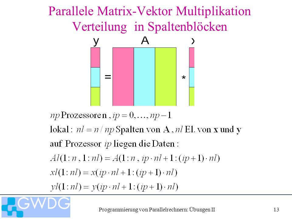 Programmierung von Parallelrechnern: Übungen II13 Parallele Matrix-Vektor Multiplikation Verteilung in Spaltenblöcken