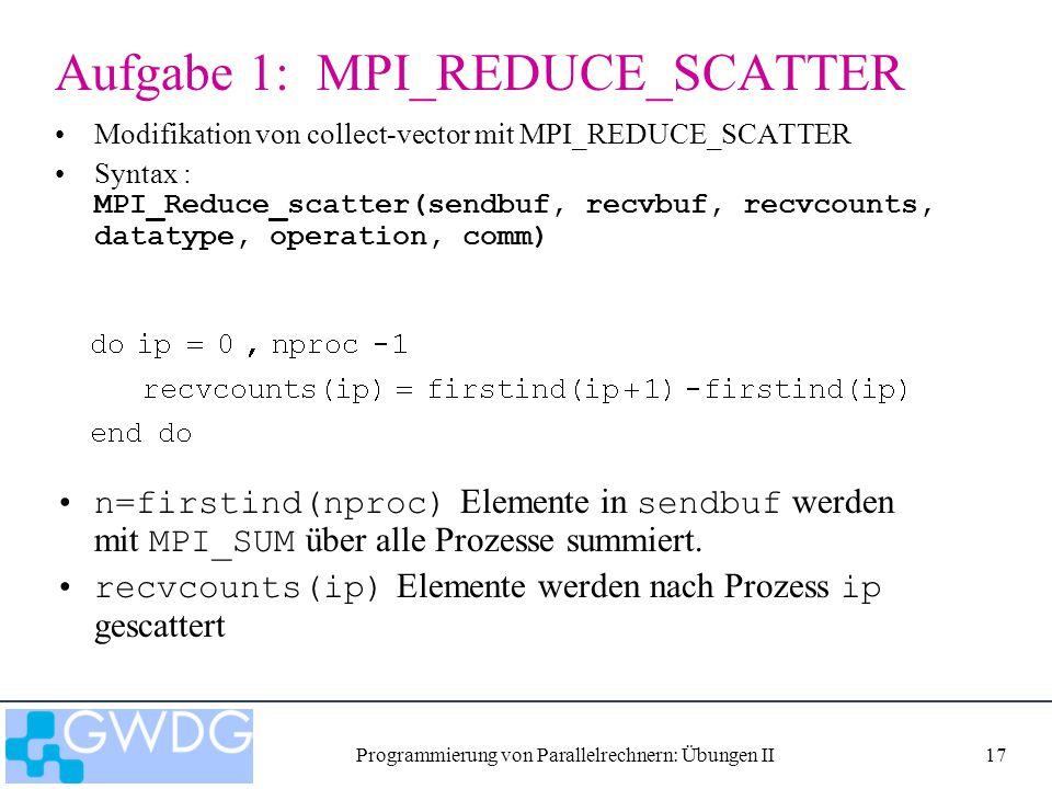 Programmierung von Parallelrechnern: Übungen II17 Aufgabe 1: MPI_REDUCE_SCATTER Modifikation von collect-vector mit MPI_REDUCE_SCATTER Syntax : MPI_Re