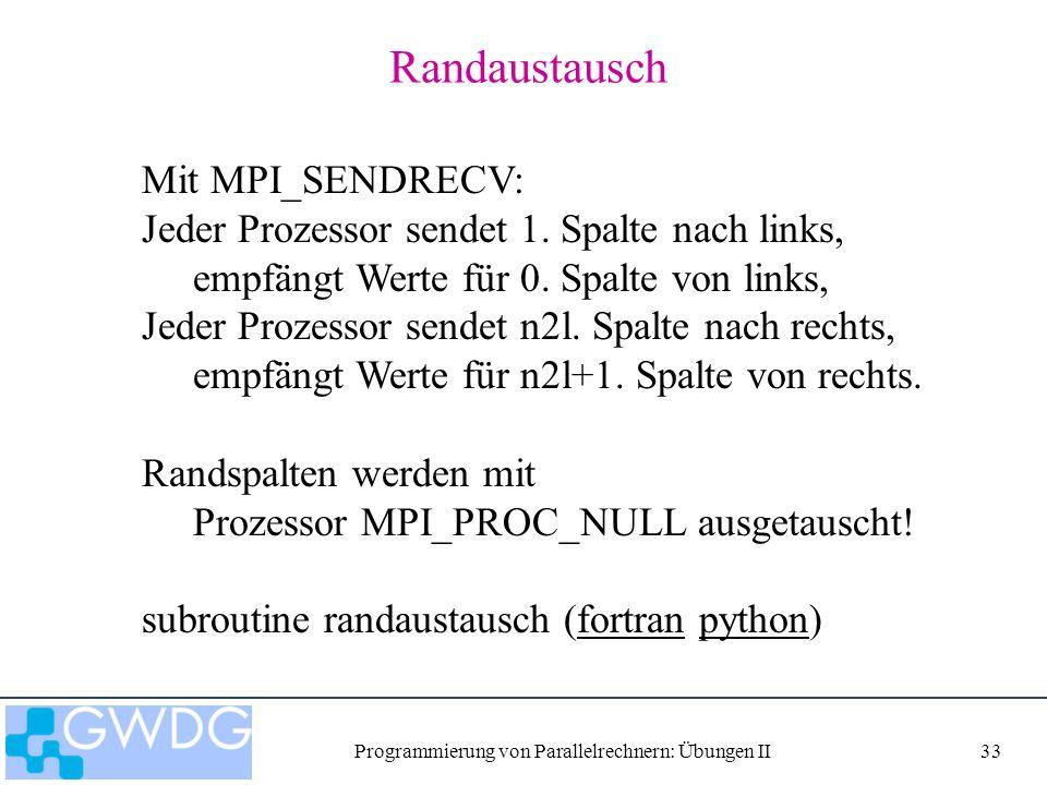 Programmierung von Parallelrechnern: Übungen II33 Randaustausch Mit MPI_SENDRECV: Jeder Prozessor sendet 1. Spalte nach links, empfängt Werte für 0. S