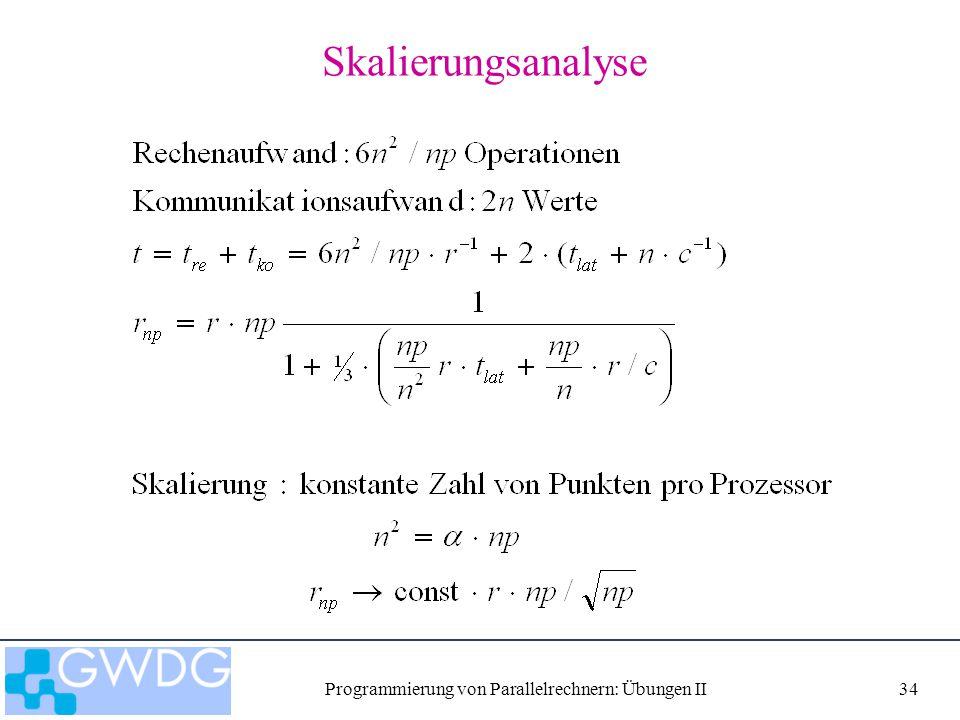 Programmierung von Parallelrechnern: Übungen II34 Skalierungsanalyse