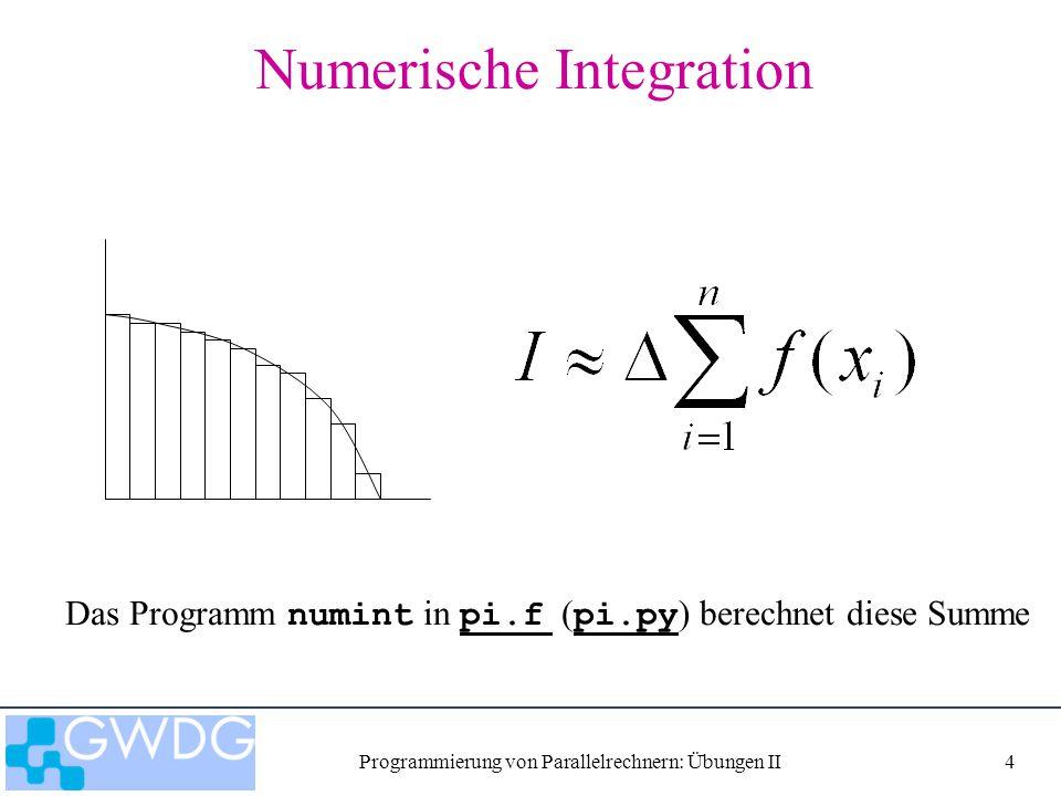Programmierung von Parallelrechnern: Übungen II5 Aufgabe 1 Verteile die Berechnung der Summe auf nproc Tasks p0 p1 p2 p3 pi_mpi.fpi_mpi.f pi_mpi.pypi_mpi.py