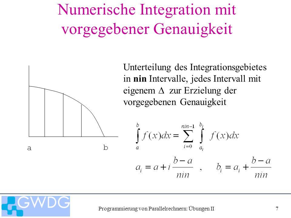 Programmierung von Parallelrechnern: Übungen II7 Numerische Integration mit vorgegebener Genauigkeit Unterteilung des Integrationsgebietes in nin Inte