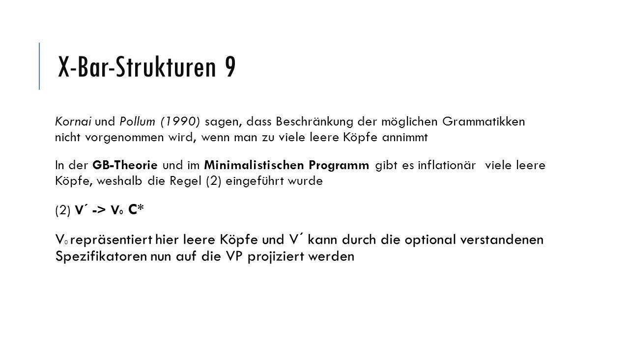 X-Bar-Strukturen 13 Hydrasätze stellen Problem für die X-Bar-Theorie dar, da Relativsätze in (4) auf eine Gruppe von Referenten beziehen >Können jedoch nur auf das Ergebnis der Koordination beziehen Die gesamte Koordination ist aber eine NP und Adjunkte sollten eigentlich auf der X- Bar-Ebene angeschlossen werden (4) [[der Kater] und [die Katze]], die einander lieben (Müller, Stefan (S.