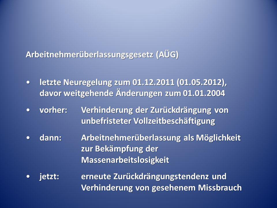 Arbeitnehmerüberlassungsgesetz (AÜG) letzte Neuregelung zum 01.12.2011 (01.05.2012), davor weitgehende Änderungen zum 01.01.2004letzte Neuregelung zum