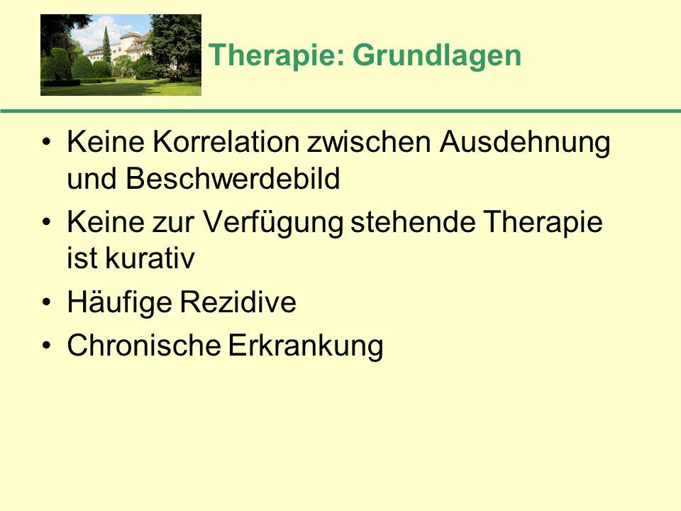 Therapie: Grundlagen Keine Korrelation zwischen Ausdehnung und Beschwerdebild Keine zur Verfügung stehende Therapie ist kurativ Häufige Rezidive Chron