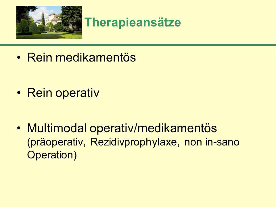 Therapieansätze Rein medikamentös Rein operativ Multimodal operativ/medikamentös (präoperativ, Rezidivprophylaxe, non in-sano Operation)