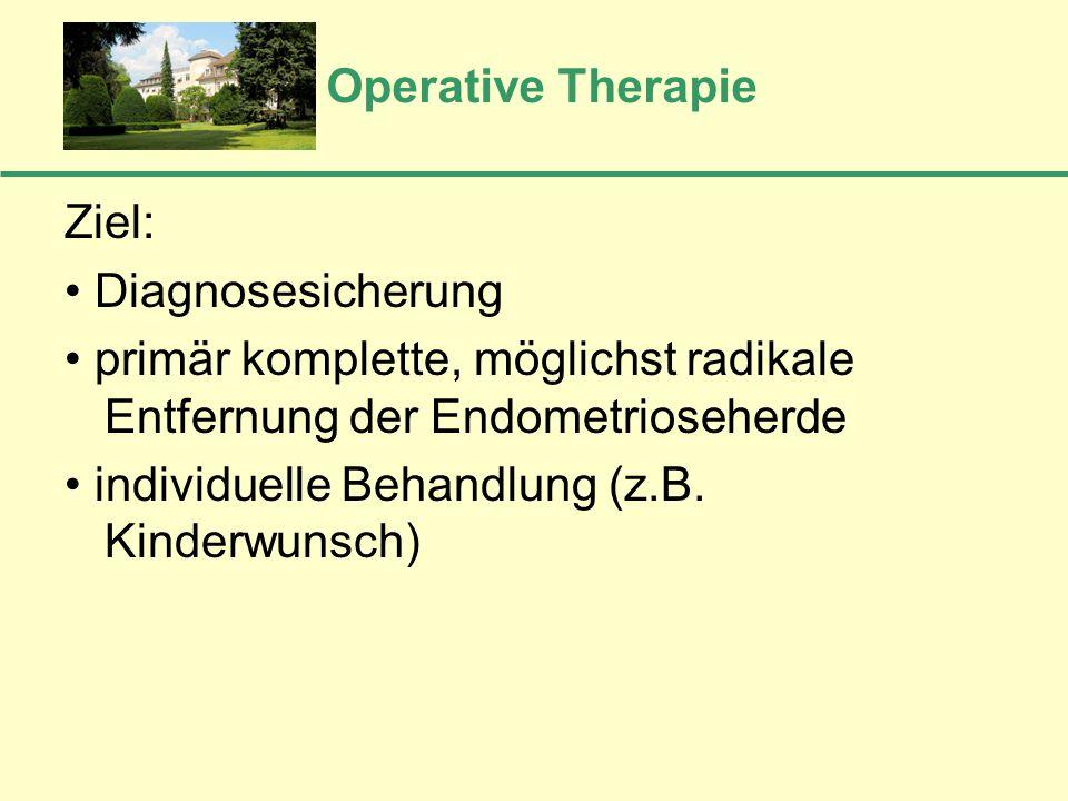 Operative Therapie Ziel: Diagnosesicherung primär komplette, möglichst radikale Entfernung der Endometrioseherde individuelle Behandlung (z.B. Kinderw