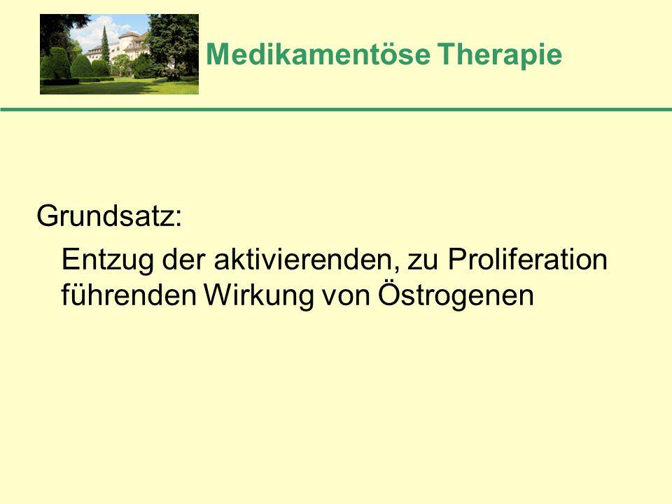 Medikamentöse Therapie Grundsatz: Entzug der aktivierenden, zu Proliferation führenden Wirkung von Östrogenen