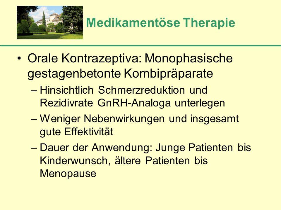 Medikamentöse Therapie Orale Kontrazeptiva: Monophasische gestagenbetonte Kombipräparate –Hinsichtlich Schmerzreduktion und Rezidivrate GnRH-Analoga u