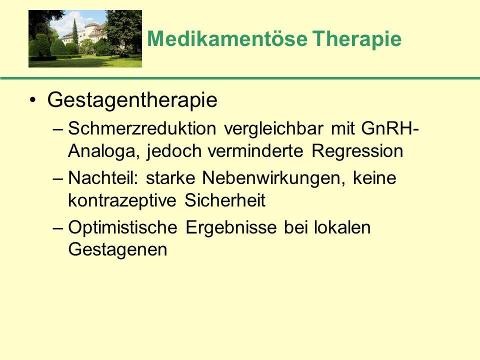 Medikamentöse Therapie Gestagentherapie –Schmerzreduktion vergleichbar mit GnRH- Analoga, jedoch verminderte Regression –Nachteil: starke Nebenwirkung